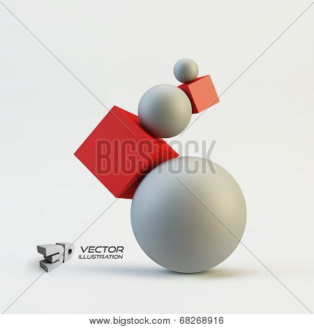 Composition of 3d geometric shapes. Vector Illustration.