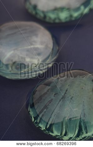 Close up glass pebbles