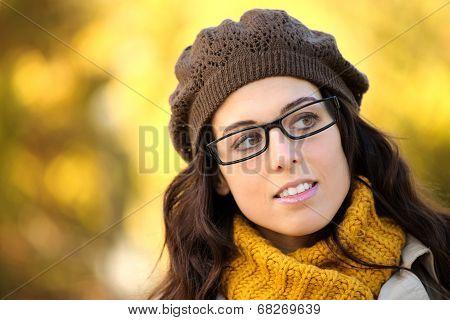 Woman Wearing Glasses Autumn Portrait