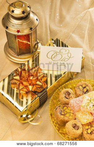 Eid festival gift set up with
