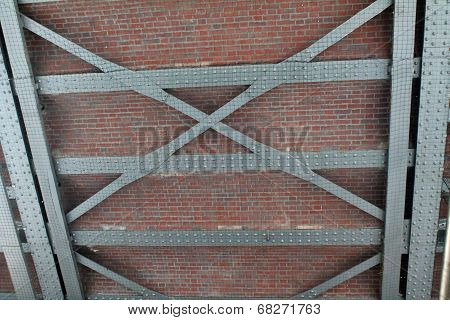 Industrial Background With Bricks, Girders