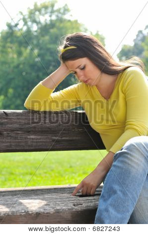 Teenage Girl In Depression Outdoors