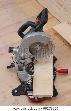Circular Saw Standing On The Floor