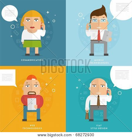 Set of Flat Design People with Mobile Phones. Communication Concept. Social Network Idea. Speech Bubbles. Office Worker and Business Man.
