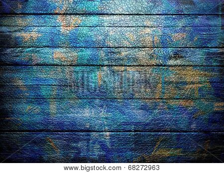 painted blue wooden wall texture or background