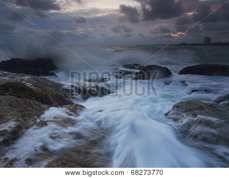 Splashing Wave With Beautiful Sunset