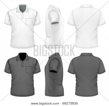 Men's polo-shirt design template (front, back and side views). Black and white variants.Illustration contains gradient mesh. Photo-realistic vector illustration.