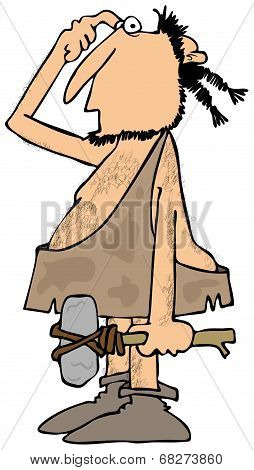 Confused caveman with a rock hammer