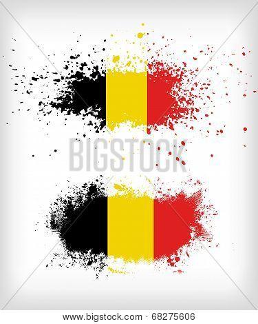 Grunge Belgian Ink Splattered Flag Vectors