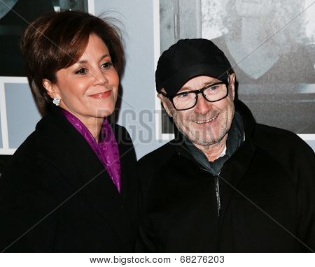 NEW YORK-JAN 12: Dana Tyler and Phil Collins (R) attend 'Beautiful - The Carole King Musical' Broadway Opening Night at Stephen Sondheim Theatre on January 12, 2014 in New York City.