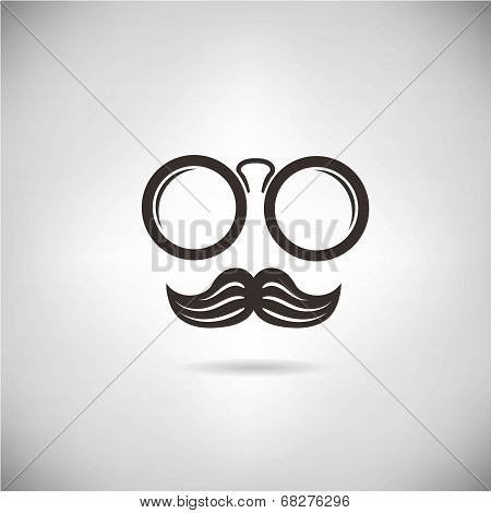 eyeglasses and mustache