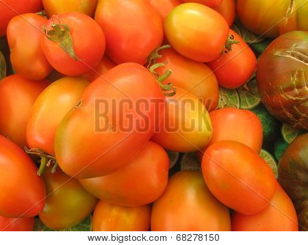 small pile of orange tones cherry tomatoes