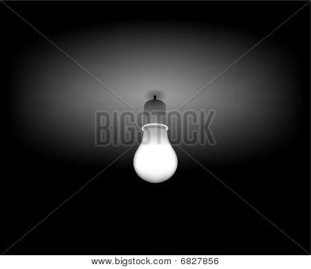 Vector Classic Light Bulb On The Dark Room
