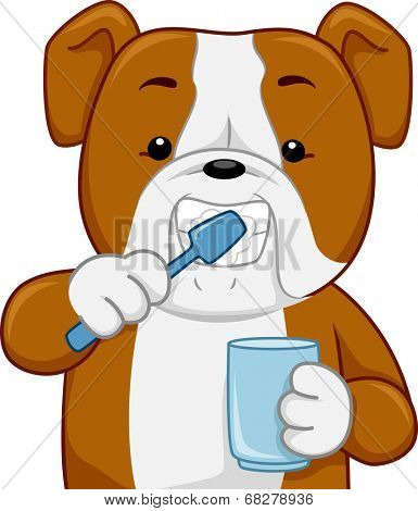 Illustration of a Bull Dog Brushing its Teeth