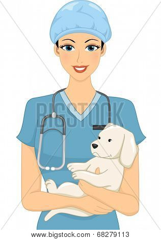 Illustration of a Female Veterinarian Cradling a Dog