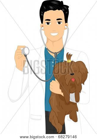 Illustration of a Male Veterinarian Checking a Dog