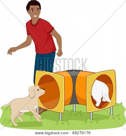Illustration of a Man Teaching His Dogs How to Walk Through a Tunnel