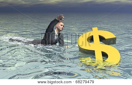 Businessman and dollar sinking - 3D render