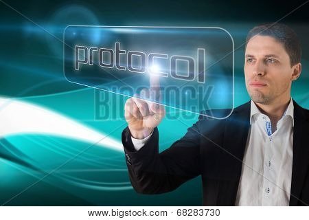 Businessman pointing to word protocol against abstract glowing black background