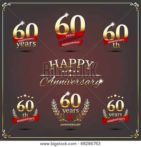 Sixty years anniversary signs collection