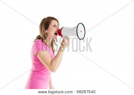 Side view of woman shouting into bullhorn over white background