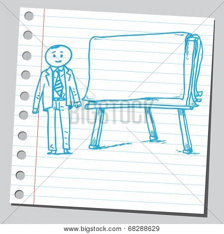 Businessman and flip chart