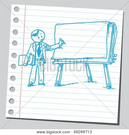 Teacher and flip chart