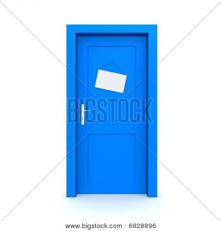 Closed Blue Door With Dummy Door Sign