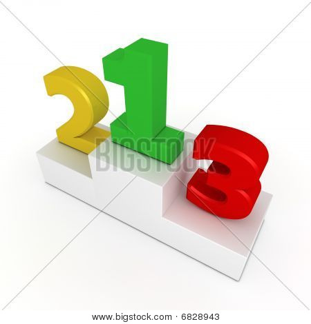 Victory Podium - Numbers 1, 2, 3 In Green, Yellow, Red