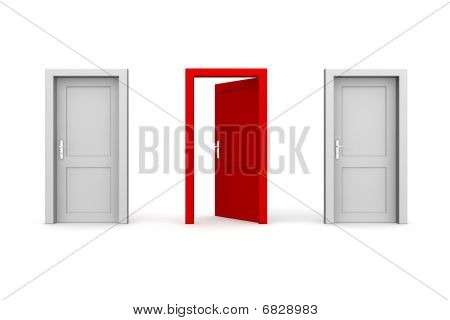 Three Doors - Grey And Red - Two Closed, One Open