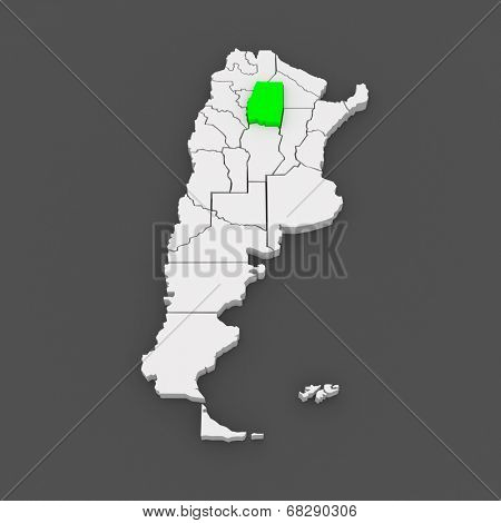 Map of Santiago del Estero. Argentina. 3d