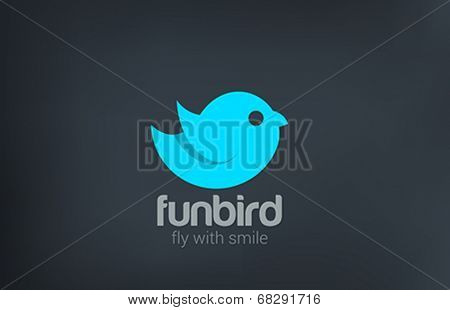 Abstract Bird Flying silhouette vector logo design template. Funny Cartoon style icon.
