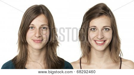 set of two portraits of the same young woman, one before and the other after putting on make-up