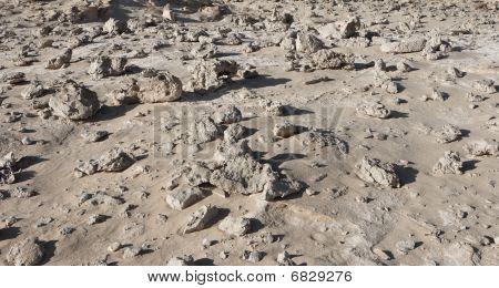 Stone field in the desert similar to moonscape