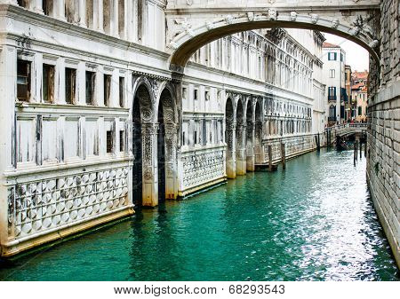 Bridge of Sighs - Ponte dei Sospiri. A legend says that lovers will be granted eternal love if they kiss on gondola at sunset under the Bridge. Venice, Italy.