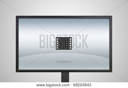 Desktop Monitor Display With Film Icon