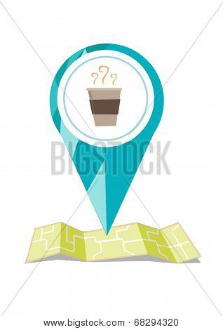 Location Icon with coffee on a Map
