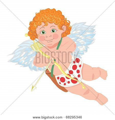 Cupid. Vector character. Template for greeting card.