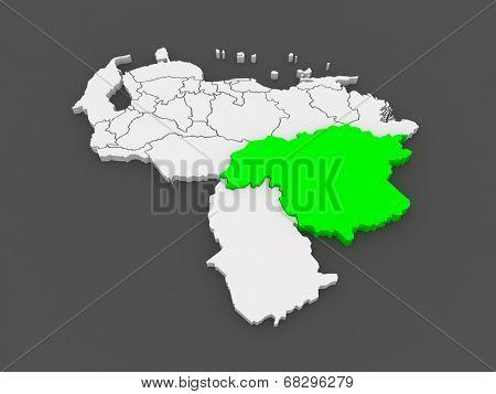 Map of Bolivar. Venezuela. 3d
