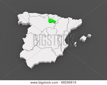 Map of Rioja. Spain. 3d
