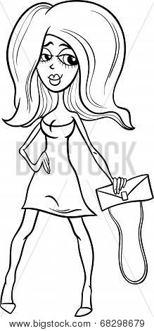 Black And White Gorgeous Woman Cartoon