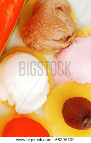 big plate with mix fruits and ice cream