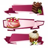 pic of panna  - Decorative sweets food paper banners set with layered cake panna cotta vanilla muffin dessert isolated vector illustration - JPG