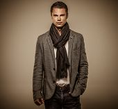 picture of jacket  - Handsome young man in casual jacket and neck scarf - JPG