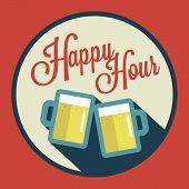 image of beer mug  - happy hour illustration with beer over vintage background - JPG