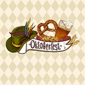 image of pretzels  - Oktoberfest celebration design with Bavarian hat - JPG