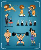 pic of strongman  - Magician with a row of rabbits in top hats with an animal trainer or lion tamer and strongman from a circus each showing three acts on a blue graduated background in a thin border  vector illustration - JPG