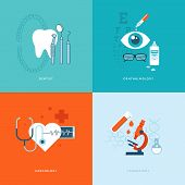 stock photo of ophthalmology  - Set of flat design concept icons for web and mobile phone services and apps - JPG