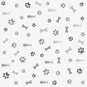 stock photo of paw  - Background with dog and cat paw print - JPG