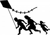 picture of deportation  - The Running Family Flying a Kite Banksy Design - JPG